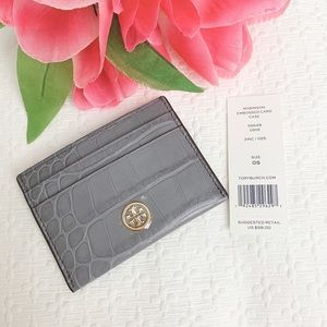 NEW Tory Burch Robinson croc embossed card case